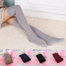 Woman Wool Braid Over Knee Socks Thigh High Hose Stockings Light Gray