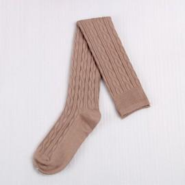 Woman Wool Braid Over Knee Socks Thigh High Hose Stockings Khaki