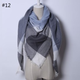 Women Fashion Long Soft Plaid Tassel Hem Scarf Winter Warm Cashmere Imitation Scarves Shawl Pashmina #12