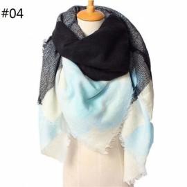 Women Fashion Long Soft Plaid Tassel Hem Scarf Winter Warm Cashmere Imitation Scarves Shawl Pashmina #04