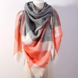 Women Fashion Long Soft Plaid Tassel Hem Scarf Winter Warm Cashmere Imitation Scarves Shawl Pashmina #03