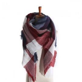 Women Fashion Long Soft Plaid Tassel Hem Scarf Winter Warm Cashmere Imitation Scarves Shawl Pashmina #06