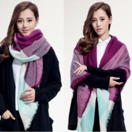 Women Fashion Long Soft Plaid Tassel Hem Scarf Winter Warm Cashmere Imitation Scarves Shawl Pashmina #01