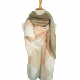 Women Fashion Long Soft Plaid Tassel Hem Scarf Winter Warm Cashmere Imitation Scarves Shawl Pashmina #02
