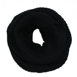 Women's Winter Warm 2-Circle Knitted Cowl Neck Long Scarf Shawl Black