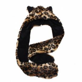 Winter Faux Animal Fur Hat Fluffy Plush Cap Hood Scarf Shawl Gloves Leopard