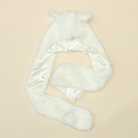 Winter Faux Animal Fur Hat Fluffy Plush Cap Hood Scarf Shawl Gloves White