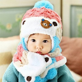 Winter Baby Cute Bear Crochet Knitted Hat and Scarf Twinset Pink
