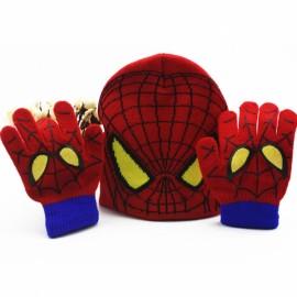 Winter Girls Boys Warm Cartoon Spider Man Knitted Hat Gloves Set Red