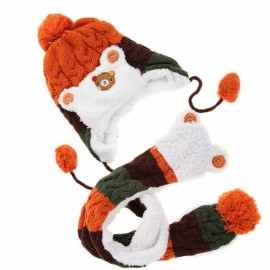 Winter Baby Cute Bear Crochet Knitted Hat and Scarf Twinset Orange