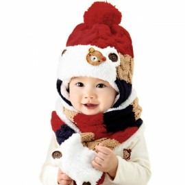 Winter Baby Cute Bear Crochet Knitted Hat and Scarf Twinset Red