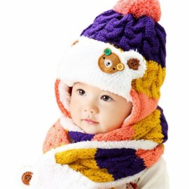 Winter Baby Cute Bear Crochet Knitted Hat and Scarf Twinset Purple