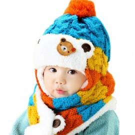 Winter Baby Cute Bear Crochet Knitted Hat and Scarf Twinset Blue