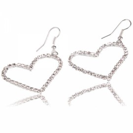 Love Heart Rhinestone-stud Earrings for Graceful Lady
