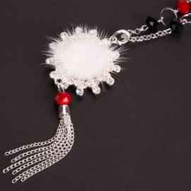 White Super Cute Villus and Rhinestone Pendant Sweater Chain Long Necklace