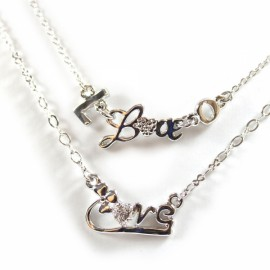 Personalized Love Letter and Heart Couple Necklace