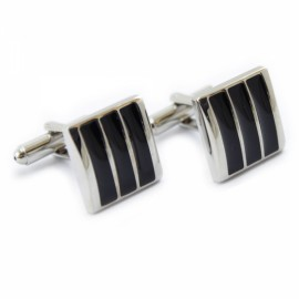 1 Pair Black Beautiful Fashionable Enamel Cufflinks