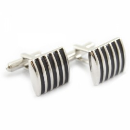 1 Pair Black Beautiful Fashionable Enamel Stripe Cufflinks