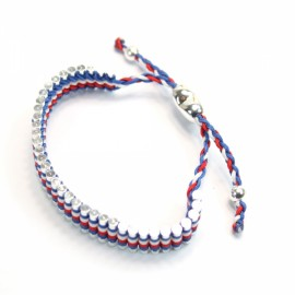 Elegant Adjustable Alloy Bracelet Blue White and Red