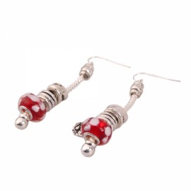 Silver Plated Dangle Earrings with Beads Red