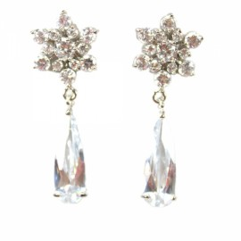 Beautiful Snowflakes White Zircon Earrings
