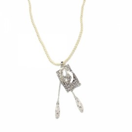 Fashion Key Shaped Pearl Long Necklace Sweater Chain Golden