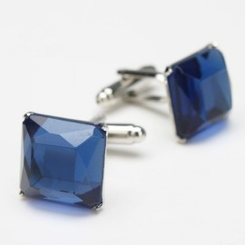 Small Square Blue Crystal Cufflinks