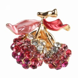 Fashion Cherry Shape Shirt Thorn-pin Crystal Brooch Red