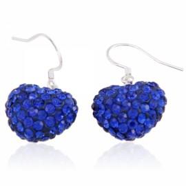 Beautiful Rhinestone Heart Shape Earrings Royalblue