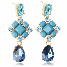 Beautiful Square Alloy Rhinestone-encrusted Water Drop Earrings Blue