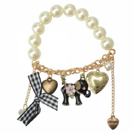 Alloy and Big Pearl Elephant and Heart Design Charm Bracelets Beaded & Strand Bracelets