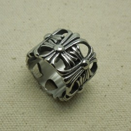 Retro Titanium Steel Hollowed-out Classic Dual-Cross Pattern Men Index Finger Ring 11# (US Standard)