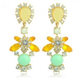 2pcs Luxury Shiny Water Drop Rhinestone Women Earrings Green & Yellow