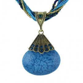 Nation Taste Multi-layer Chain Oval Gemstone Pendant Alloy Necklace Blue