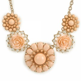 Elegant Flower Shaped Pendant Zinc Alloy Woman Necklace Pink