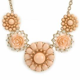 Elegant Flower Shaped Pendant Zinc Alloy Woman Necklace Pink