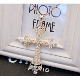 Retro Cross Shape Rhinestoned Long Zinc Alloy Sweater Necklace Golden