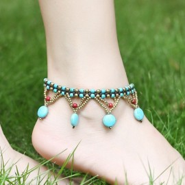 Vintage Turquoise Beads Braided Rope Copper Bell Anklet Blue
