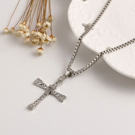 Euramerican Style Cross-shaped Pendant Zinc Alloy Necklace for Men Silver