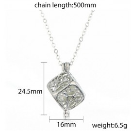 Steampunk Style Hollow Cubic Tree of Life Shape Pendant Luminous Stone Necklace Pink