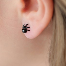 Simple Style Solid Color Spider Shape Earrings for Women Black