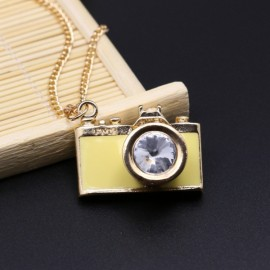 Vintage Gemstone Enamel Camera Shaped Pendant Alloy Sweater Necklace Light Yellow