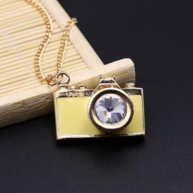 Vintage Gemstone Enamel Camera Shaped Pendant Alloy Sweater Necklace Light Yellow