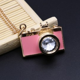 Vintage Gemstone Enamel Camera Shaped Pendant Alloy Sweater Necklace Pink
