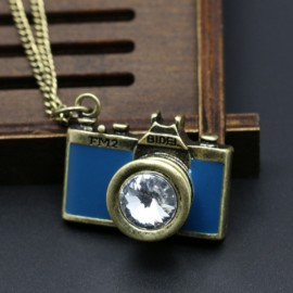 Vintage Gemstone Enamel Camera Shaped Pendant Alloy Sweater Necklace Blue
