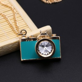 Vintage Gemstone Enamel Camera Shaped Pendant Alloy Sweater Necklace Green