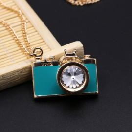 Vintage Gemstone Enamel Camera Shaped Pendant Alloy Sweater Necklace Green