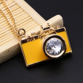 Vintage Gemstone Enamel Camera Shaped Pendant Alloy Sweater Necklace Orange