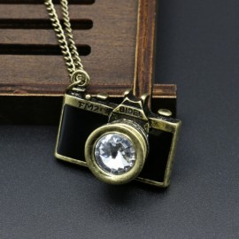 Vintage Gemstone Enamel Camera Shaped Pendant Alloy Sweater Necklace Black