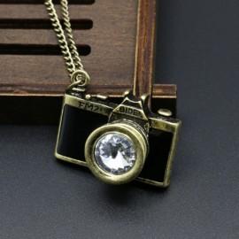 Vintage Gemstone Enamel Camera Shaped Pendant Alloy Sweater Necklace Black
